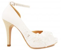Jean Ivory White Satin With Lace Wedding Shoes