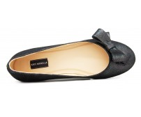 Angelia Black Leather Casual Flats