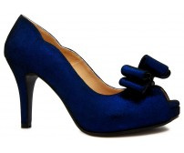 Chelsea Blue Leather Bow Dinner Shoes