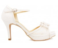 Janelle White Lace And Ivory White Satin Wedding Sandals