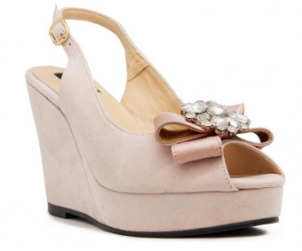 Aida Beige Suede With Diamond Buckle Wedges