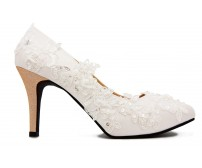 Olivia Ivory White Satin With White Lace Wedding Shoes