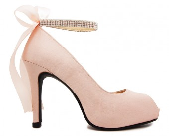 Danielle Nude pink Satin Back Bow Wedding Shoes