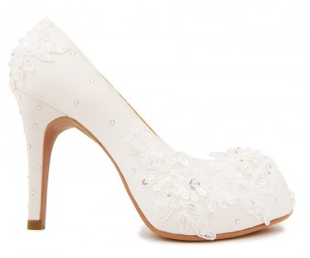 * Kate Ivory White Satin Swarovski Rhinestone Wedding Shoes