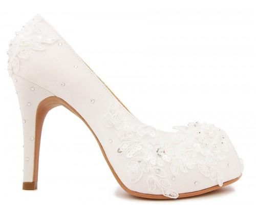 * Kate Ivory White Satin Swarovski Rhinestone Wedding Shoes
