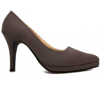 Ruby Dark Grey Satin Dinner Shoes