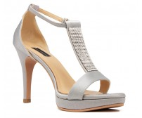 Nina Grey Satin With Diamante Wedding Sandals
