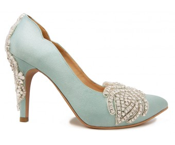 * Adelie Baby Blue Satin With Applique Wedding Shoes