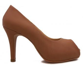 Preslie Brown Sheepskin Leather  Shoes