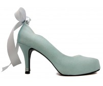 Alice Baby Blue Satin  Wedding Shoes