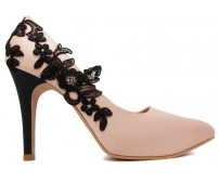 Valencia Nude Pink Satin With Black Lace Wedding Shoes