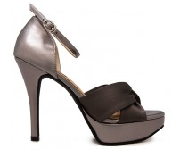 Naomi Grey Satin With Metallic Dinner Shoes