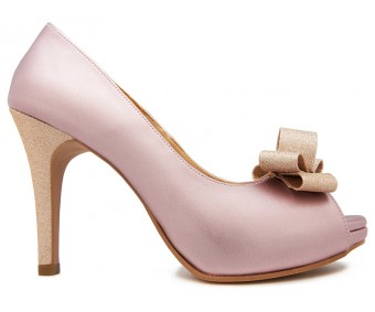 Deidre Lavender Metal PU With Champagne Glitter Bow Wedding Shoes