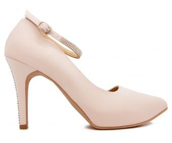 Duchess Light Beige Satin Swarovski Rhinestone Wedding Shoes