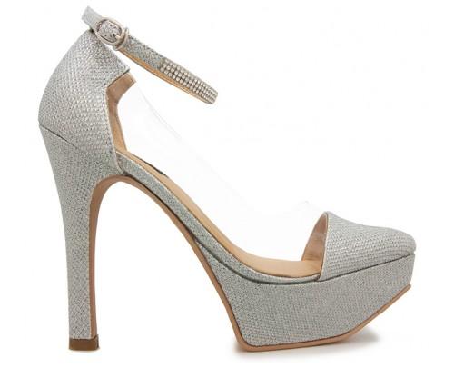Annika Silver Glitter Transparent With Diamante Wedding Shoes