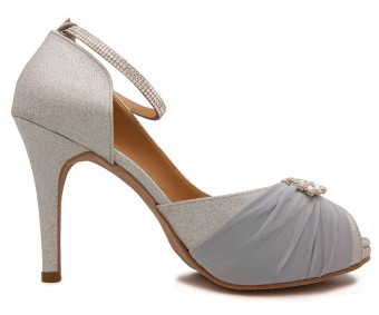 Audrey Silver Glitter With Chiffon Buckle Wedding Shoes