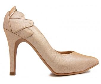 * April Champagne Luzzi Glitter Wedding Shoes