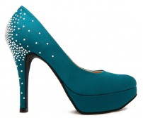 Florence Turquoise Satin Swarovski Rhinestone Dinner Shoes