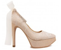 Lyna Champagne Glitter With White Lace Wedding Shoes