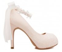 Carin Light Beige Satin With White Lace With Lace Ribbon Strap Wedding Shoes