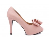 Deidre Nude Pink Satin Wedding Shoes(Ready Stock)