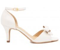 Nicky Ivory White Satin Bow Wedding Shoes