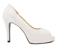 Elaine Ivory White Satin Rhinestone Wedding Shoes