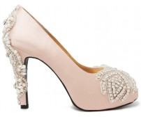 * Adelie Nude Pink Satin With Applique Wedding Shoes