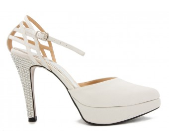 Blanche Ivory White Satin Swarovski Rhinestone Wedding Shoes
