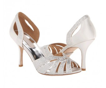 Adalyn Ivory White Satin Swarovski Rhinestone Wedding Shoes