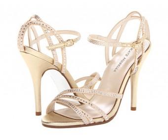 Ava Champagne Satin Swarovski Rhinestone Wedding Sandals