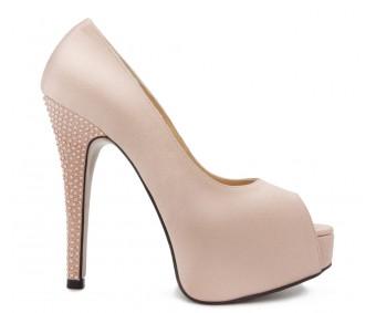 Carla Nude Pink Satin Swarovski Rhinestone Wedding Shoes