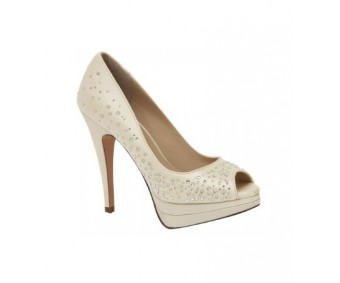 Charissa Champagne Satin Swarovski Rhinestone Wedding Shoes