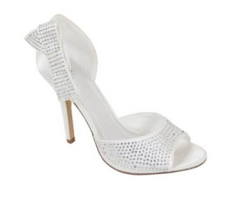 Cherlyn Ivory White Satin Swarovski Rhinestone Wedding Shoes