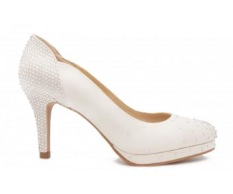 Genica Ivory White Satin Rhinestone Wedding Shoes