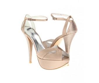 Jeanette Champagne Satin Swarovski Rhinestone Wedding Sandals