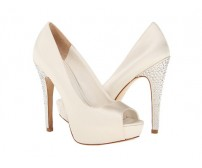 Marcela Ivory White Satin Swarovski Rhinestone Wedding Shoes