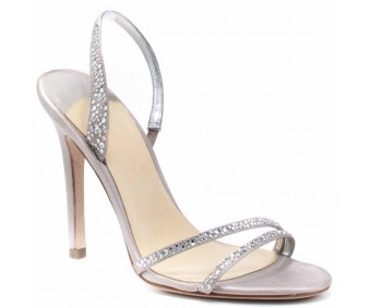 Penelope Grey Satin Swarovski Rhinestone Wedding Sandals