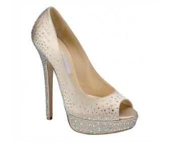 Sarah Champagne Satin Swarovski Rhinestone Wedding Shoes