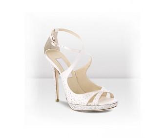 Sophia Ivory White Satin Swarovski Rhinestone Wedding Sandals
