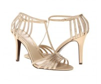 Stacey Champagne Satin Swarovski Rhinestone Wedding Sandals