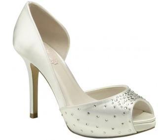 Tasmin Ivory White Satin Swarovski Rhinestone Wedding Shoes
