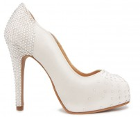 Adrienne Ivory White Satin Swarovski Rhinestone Wedding Shoes