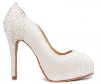 Adrienne Ivory White Satin Swarovski Rhinestone Wedding Shoes