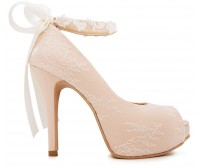 * Carin Light Beige Satin With Lace Shoes(Ready Stock)