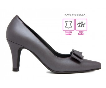Felician Metalic Gray Leather Super Comfort Heels (Ready Stock)