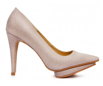 Estelle Rose Gold Glitter Wedding Shoes (Ready Stock)