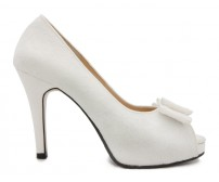 Elsie Ivory White Satin Lace Wedding Shoes