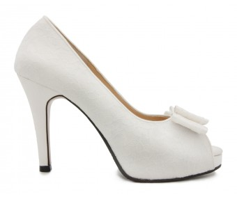 Cece Ivory White Satin Lace Wedding Shoes