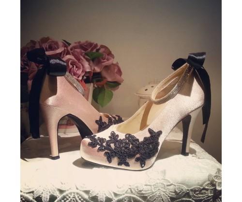 Bebe Black Lace Diamante Wedding Shoes